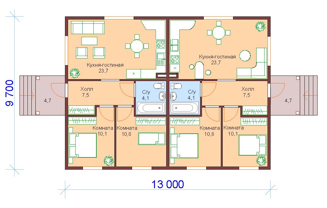 Проект деревянного дома одноэтажного на двуххозяев 2